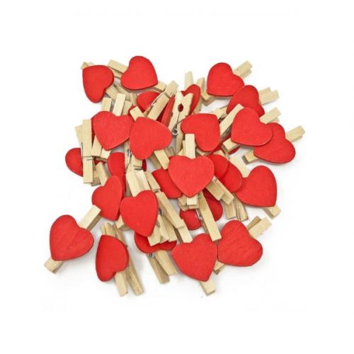Прищепка деревянная с красным сердцем, 2.5 см