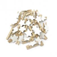 Прищепка деревянная с белой звездой, 2.5 см