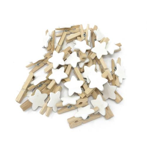 Прищепка деревянная с белой звездой, 2.5 см, фото