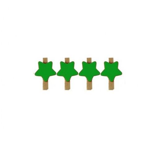 Прищепка деревянная с зеленой звездой, 2.5 см