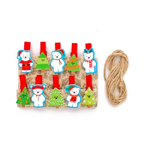 Набор прищепок декоративных Новогодние елочки и мишки, фото