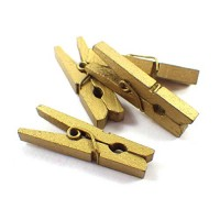 Прищепка деревянная Золото, 2.5 см