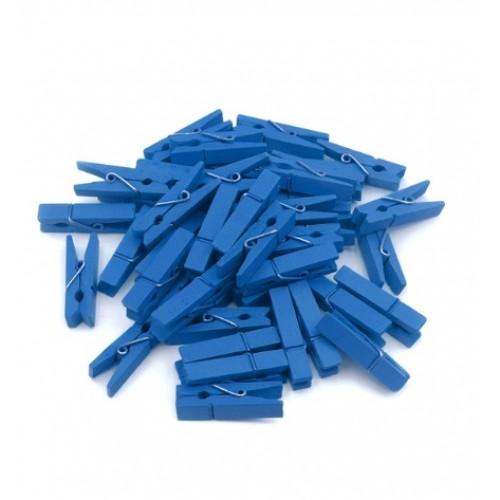 Прищепка деревянная Синяя 2.5 см фото