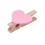 Прищепка деревянная с розовым сердцем, 2.5 см