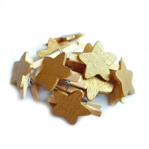 Прищепка деревянная с золотой звездой, фото