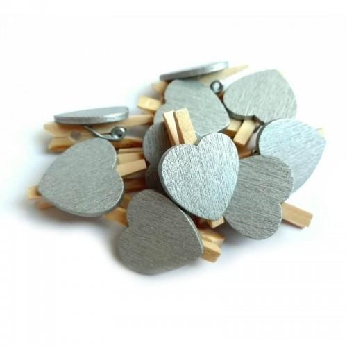 Прищепка деревянная с серебряным сердцем, 2.5 см