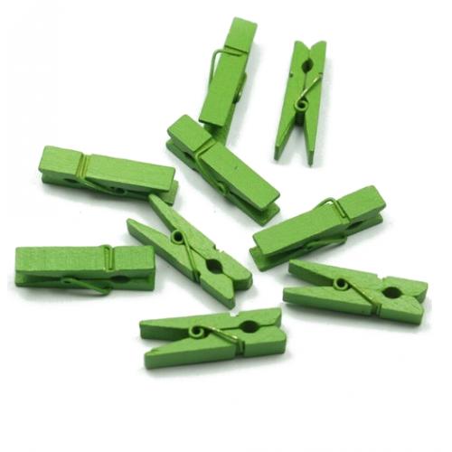 Прищепка деревянная Зеленая 3.5 см фото