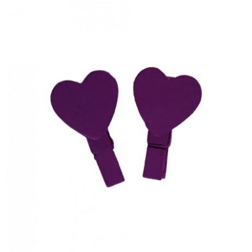 Прищепка деревянная Фиолетовая с сердцем 3,5 см фото