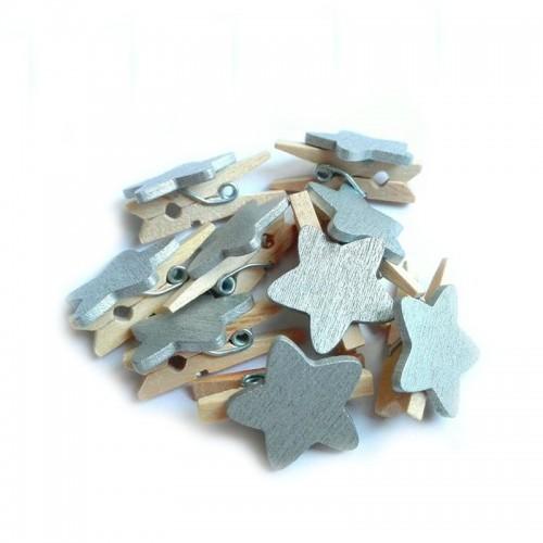 Прищепка деревянная с серебряной звездой, 2.5 см