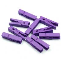 Прищепка деревянная Фиолетовая, 3.5 см