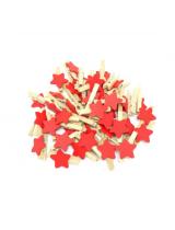 Прищепка деревянная с красной звездой, 2.5 см