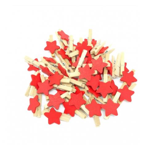 Прищепка деревянная с красной звездой, 2.5 см, фото