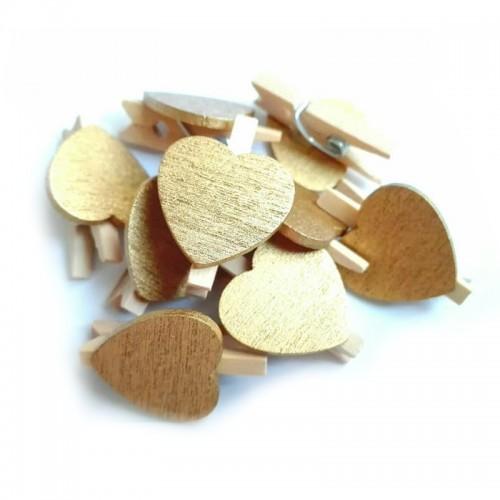 Прищепка деревянная с золотым сердцем, 2.5 см
