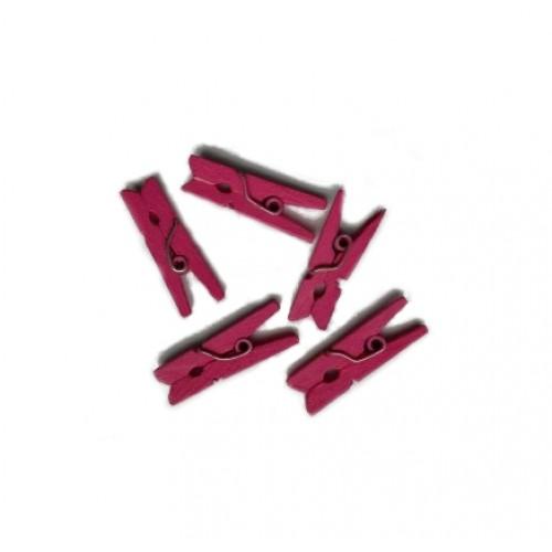 Прищепка деревянная Темно-розовая, 2,5 см