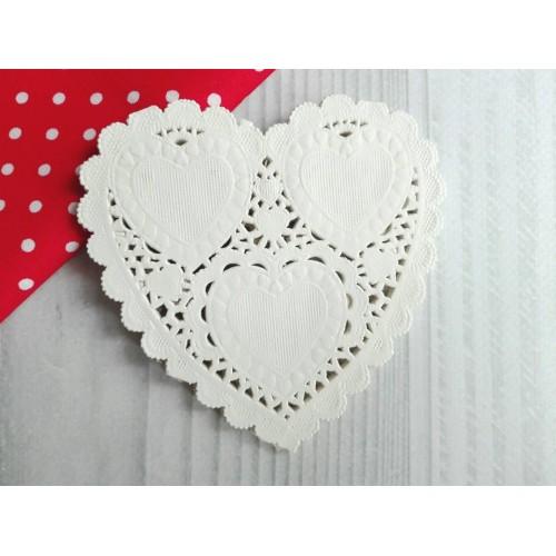 Ажурная салфетка. Сердце, 10 см, 10 шт