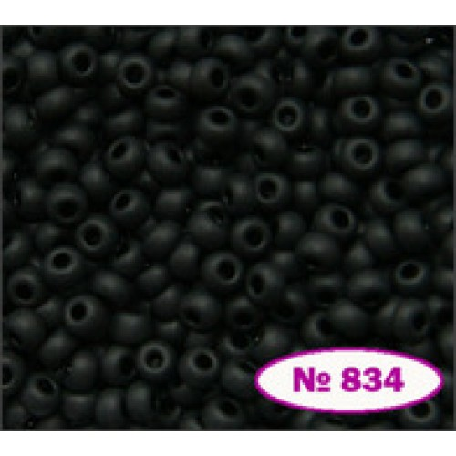 Бисер Preciosa 10/0, натуральный матовый чёрный, цвет 23980