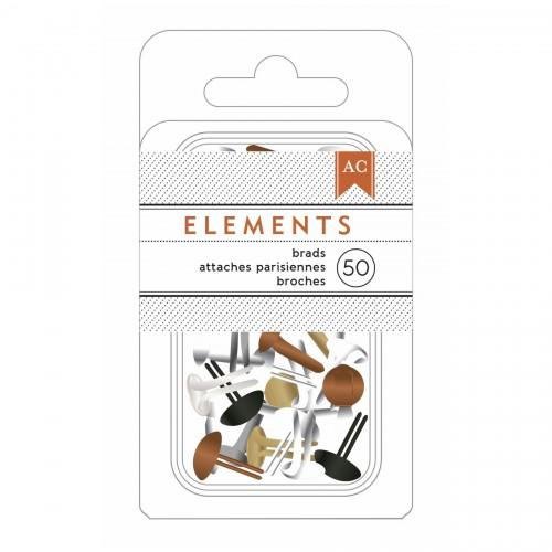 Брадсы Metallics, American Crafts, 50 шт