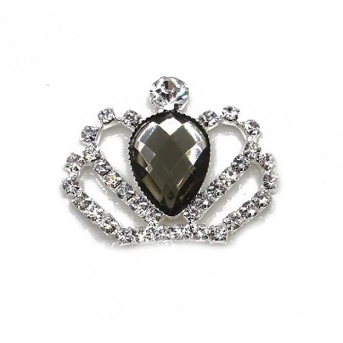 Брошь корона с серым кристаллом, 40*35 мм