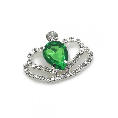 Брошь корона с зеленым кристаллом, 40*35 мм