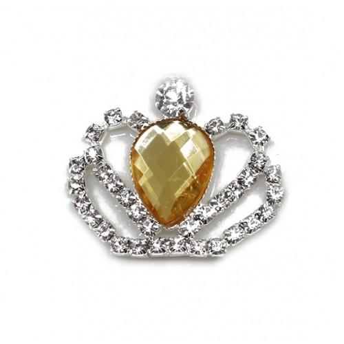 Брошь корона с желтым кристаллом, 40*35 мм