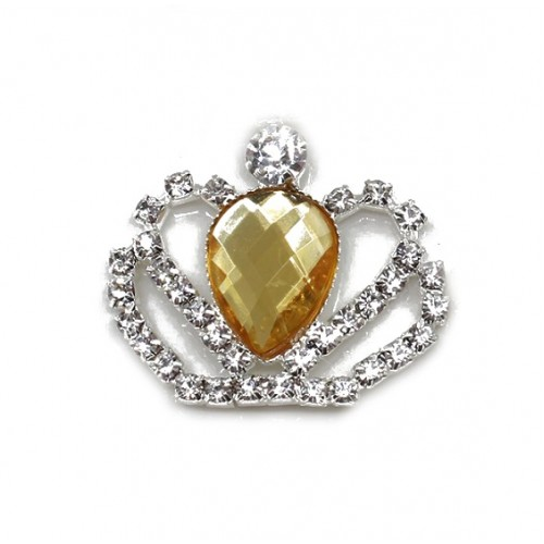 Брошь корона с желтым кристаллом, фото