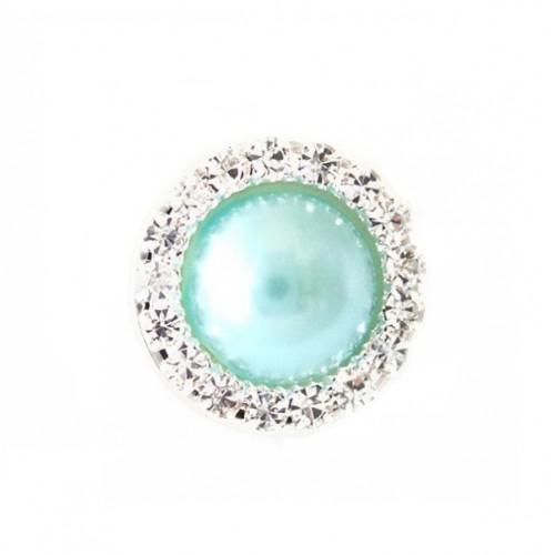 Брошь круглая с кристаллами голубая, 15 мм