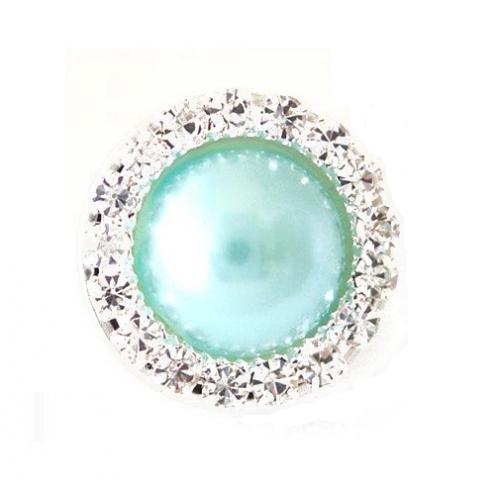Брошь круглая с кристаллами голубая фото