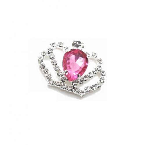 Брошь корона с малиновым кристаллом, 40*35 мм