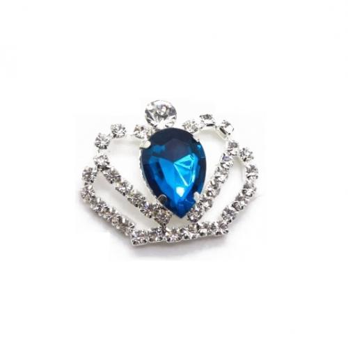Брошь корона с синим кристаллом, 40*35 мм