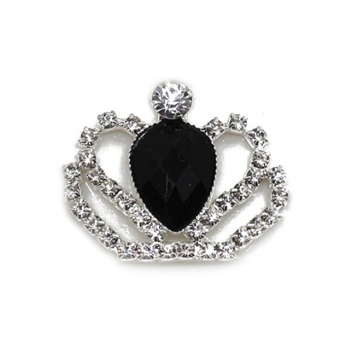 Брошь корона с черным кристаллом, 40*35 мм