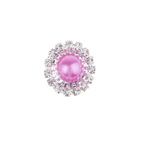 Брошь круглая с кристаллами розовая, 15 мм