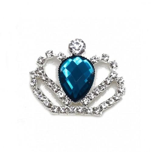 Брошь корона с темно-синим кристаллом, фото