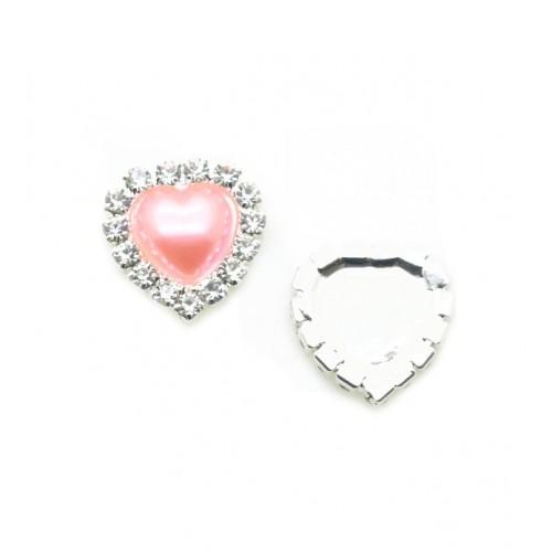 Брошь сердце с кристаллами розовая, 15 мм