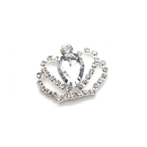 Брошь корона с прозрачным кристаллом, 40*35 мм