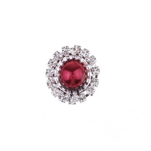 Брошь круглая с кристаллами бордовая, 15 мм