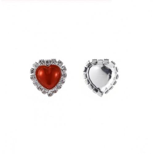 Брошь сердце с кристаллами красная, 15 мм
