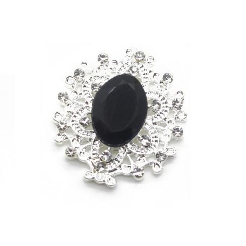Брошь с кристаллом чёрным, 27 *23 мм