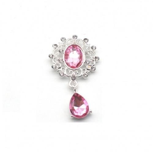 Брошь с кристаллом светло-розовая, 45*28 мм