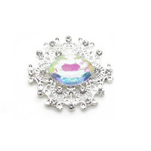 Брошь с радужным кристаллом, 27 *23 мм