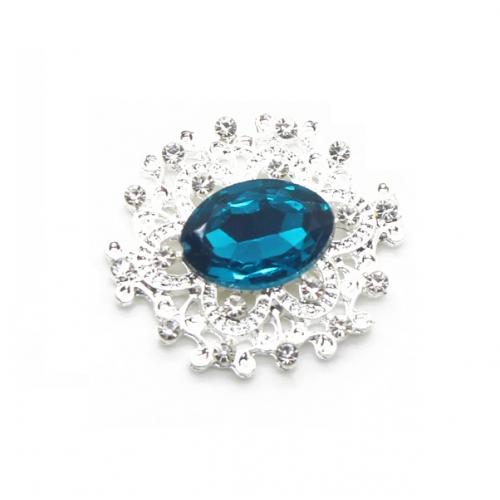 Брошь с кристаллом бирюзовым, 27 *23 мм