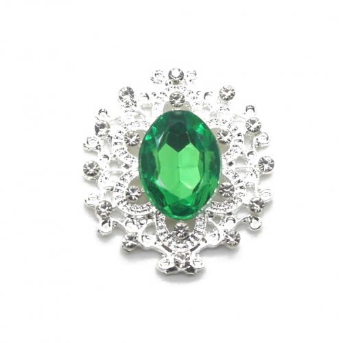 Брошь с кристаллом зеленым, 27 *23 мм