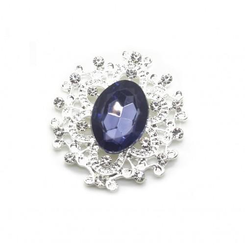 Брошь с кристаллом темно-синим, 27 *23 мм