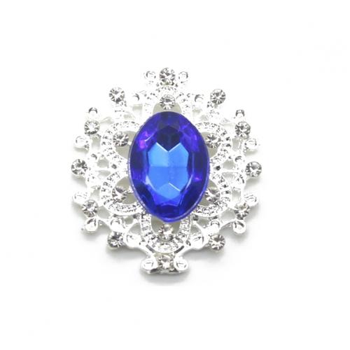 Брошь с кристаллом синим, 27 *23 мм