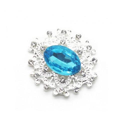 Брошь с кристаллом голубым, 27 *23 мм