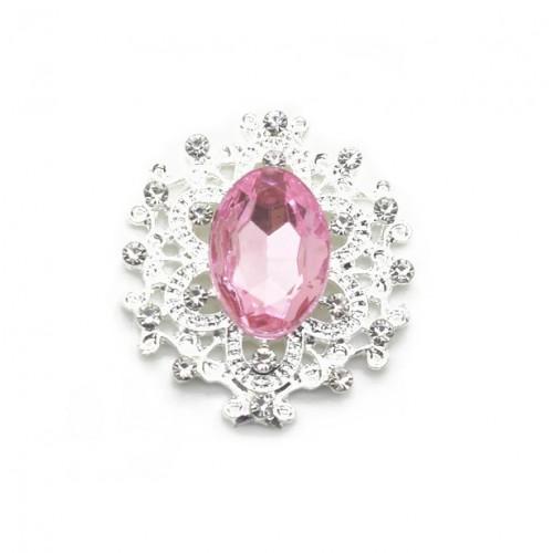 Брошь с кристаллом розовым, 27 *23 мм