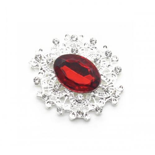 Брошь с кристаллом красным, 27 *23 мм