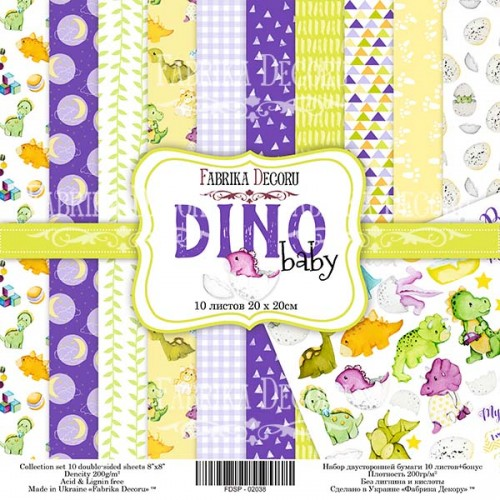 "Набор скрапбумаги ""Dino baby"" 20x20см Фабрика Декору фото"