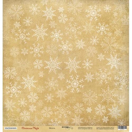 Лист односторонней бумаги Метель из коллекции Christmas Night от Scrapmir, 30*30 см