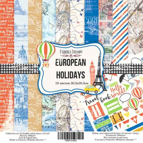 "Набор скрапбумаги ""European holidays"" 30,5x30,5см Фабрика Декору фото"