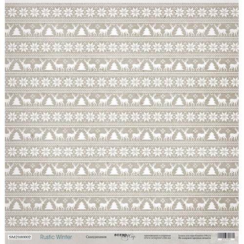 Лист односторонней бумаги Скандинавия из коллекции Rustic Winter от Scrapmir, 30*30 см фото